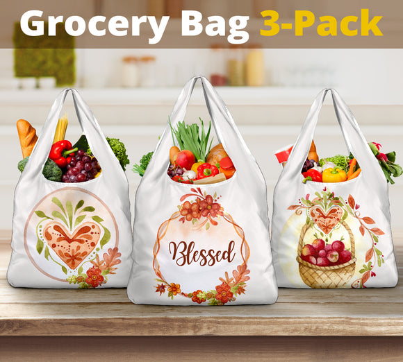 3-Pack Premium Heavy Duty Reusable Washable Grocery Shopping Bags For Fall
