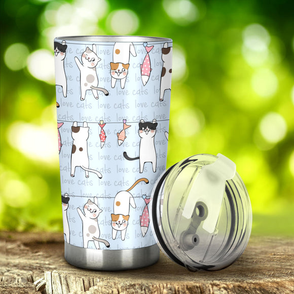 20 Ounce Vacuum Insulated Tumbler With Lid Stainless Steel Travel Mug For Cat Lovers