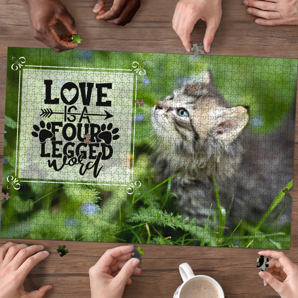 Premium Wood Cute Kitten 1000 Piece or 500 Piece Basswood Jigsaw Puzzle For Cat Lovers