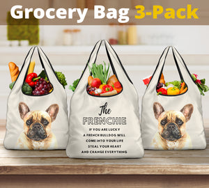 3-Pack Premium Heavy Duty Reusable Washable Grocery Shopping Bags For Dog Lovers