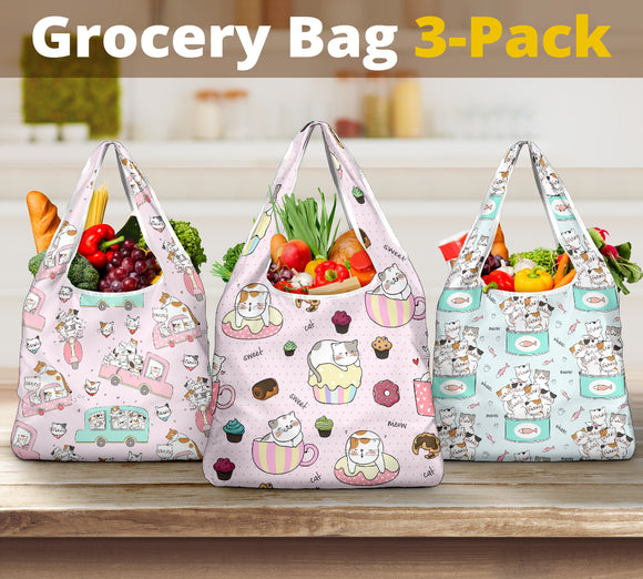 3-Pack Premium Heavy Duty Reusable Washable Grocery Shopping Bags For Cat Lovers