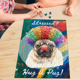 Premium Wood Cute Pug 1000 Piece or 500 Piece Basswood Jigsaw Puzzle For Dog Lovers