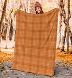 Orange Fall Plaid Premium Custom Micro Fleece Large Throw Blanket For Couch Or Bed