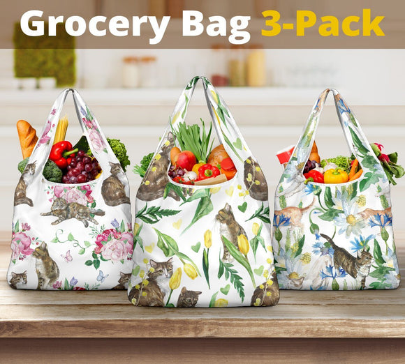 Grocery Bags - 3-Pack Premium Heavy Duty Reusable Washable Grocery Shopping Bags For Cat Lovers