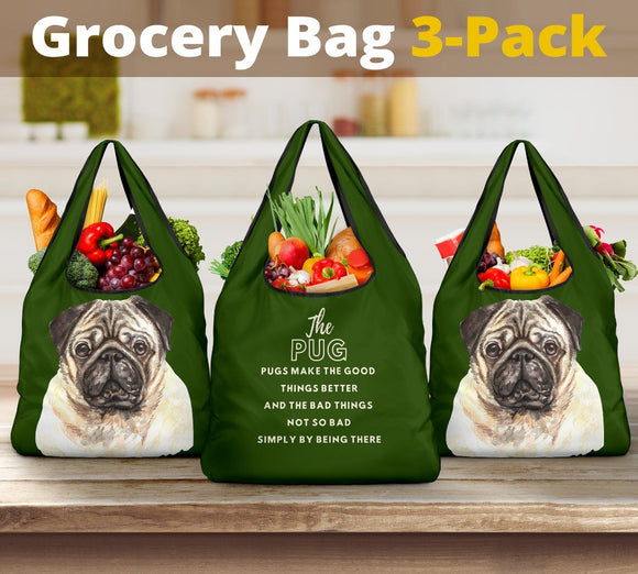 Grocery Bags - 3-Pack Premium Heavy Duty Reusable Washable Grocery Shopping Bags For Dog Lovers