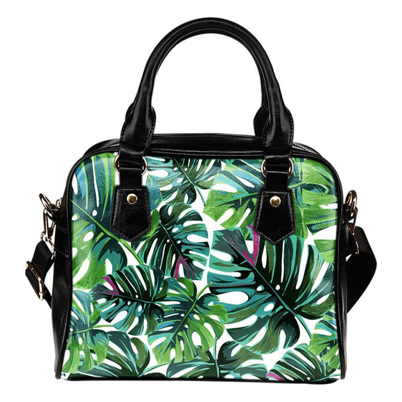 Handbags - Tropical Leaf Fashion Leather Shoulder Handbag Purse With Compartments