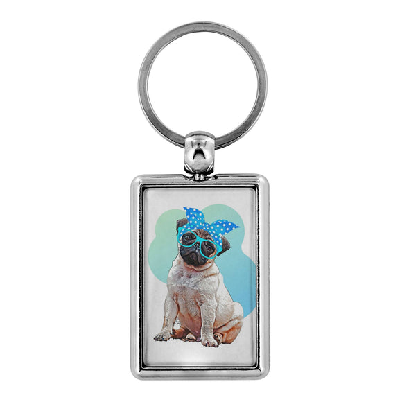 Keychain - Double-Sided Silver Summer Pug Keychain For Dog Lovers