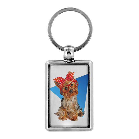 Keychain - Double-Sided Silver Summer Yorkie Keychain For Dog Lovers