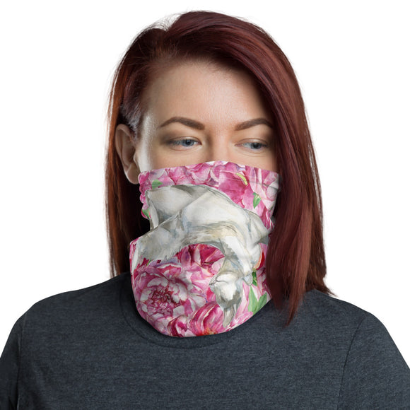 Neck Gaiter Face Scarf Multi-Functional Face Covering and Headband For Cat Lovers-Pink Floral Cats