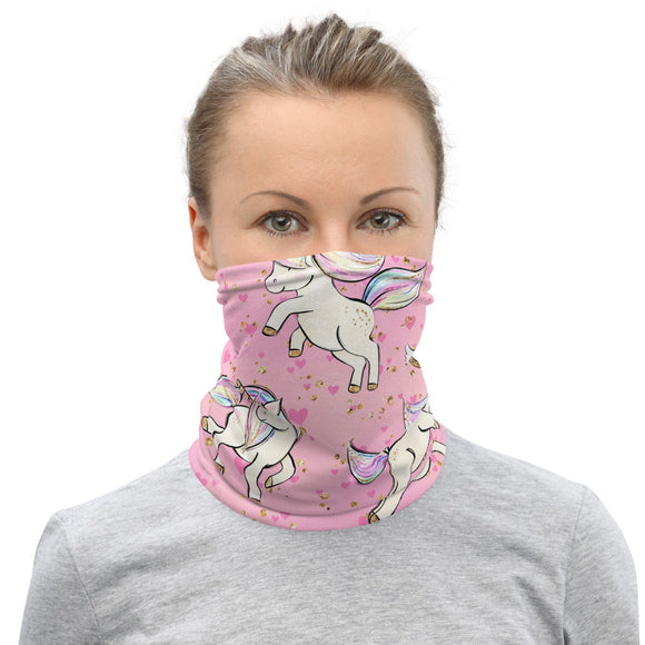 Neck Gaiter Face Scarf Multi-Functional Face Covering and Headband For Unicorn Lovers-Hearts & Unicorns