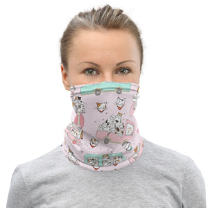 Neck Gaiter Face Scarf Multi-Functional Face Covering and Headband For Cat Lovers-Cats on Wheels