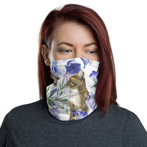Neck Gaiter Face Scarf Multi-Functional Face Covering and Headband For Cat Lovers-Cats & Bluebells