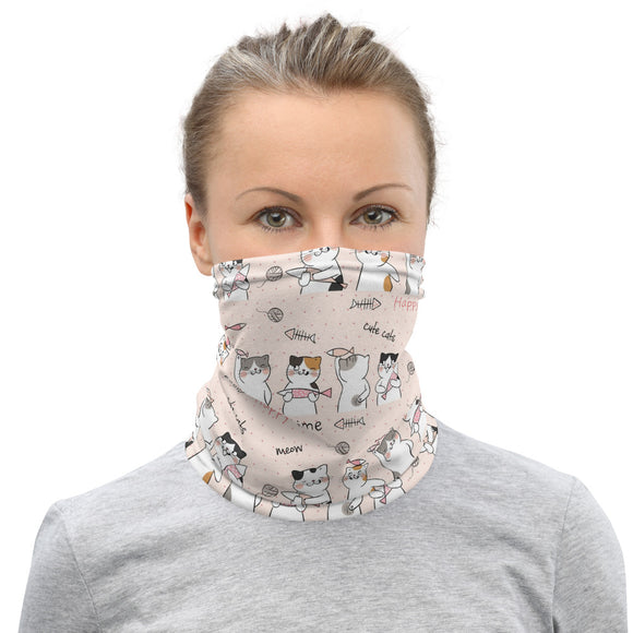 Neck Gaiter Face Scarf Multi-Functional Face Covering and Headband For Cat Lovers-Happy Cats