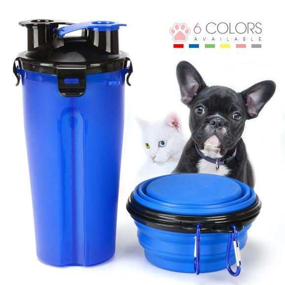 Pet Water Bottle - 2 In 1 Pet Water Bottle Food Container With Folding Silicone Bowl