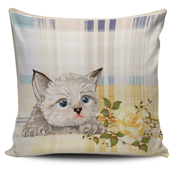 Pillows - Adorable Kitten And Yellow Roses Plaid Bed Throw Or Couch Pillow Cover For Cat Lovers
