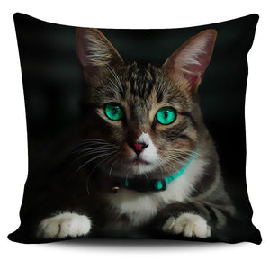 Pillows - Emerald Eyes Cat Bed Throw Or Couch Pillow Cover