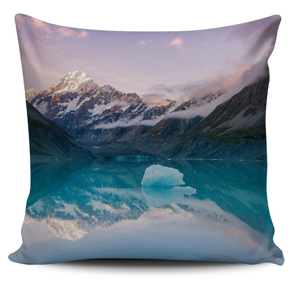 Pillows - Mountain And Lake Printed (Mt. Cook, New Zealand) Nature Bed Throw Or Couch Pillow Cover