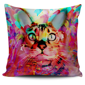 Painted Artistic Pink Cat Bed Throw Or Couch Pillow Cover