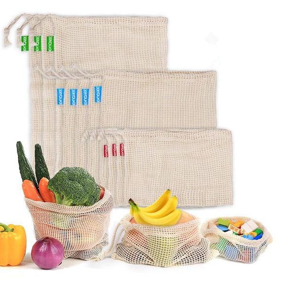 Produce Bags - Eco-Friendly Reusable Cotton Drawstring Mesh See-Through Produce Bag