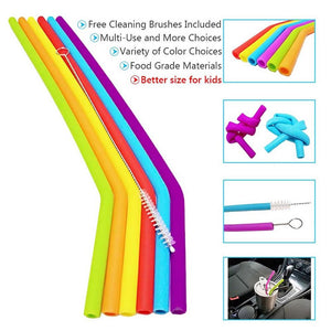 Reusable Straws - 6 Piece Eco-Friendly Reusable Washable Silicone Straw Set