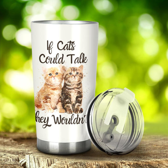 Tumblers - 20 Ounce Vacuum Insulated Tumbler With Lid Stainless Steel Travel Mug For Cat Lovers
