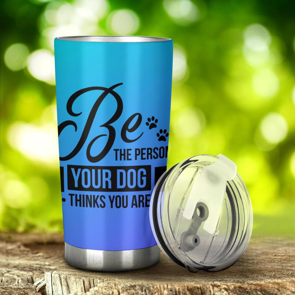 Tumblers - 20 Ounce Vacuum Insulated Tumbler With Lid Stainless Steel Travel Mug For Dog Lovers