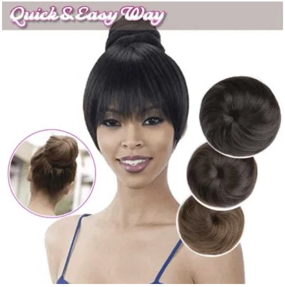 Bundle Hair buns and Bangs Set