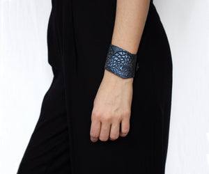 Wide cuff bracelet, purple and black leather bangles holographic with animal pattern