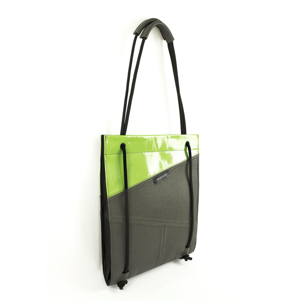 Gray + lime green leather laptop bag
