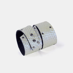 Genuine leather holographic bracelet, women's white cuff bangles