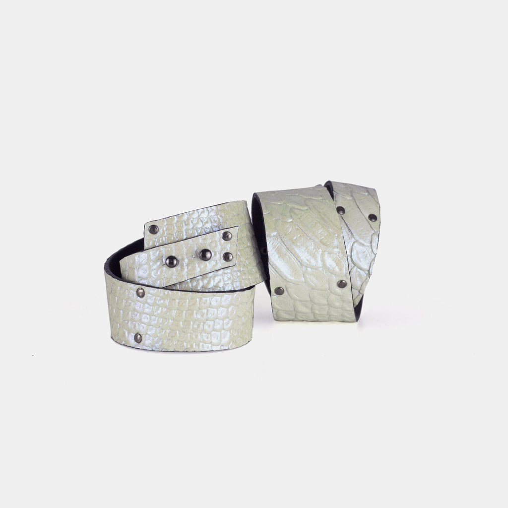 Genuine leather holographic bracelet, women's cuff, wide statement bangles