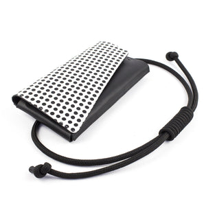 Minimal leather black festival bag / clutch black and white