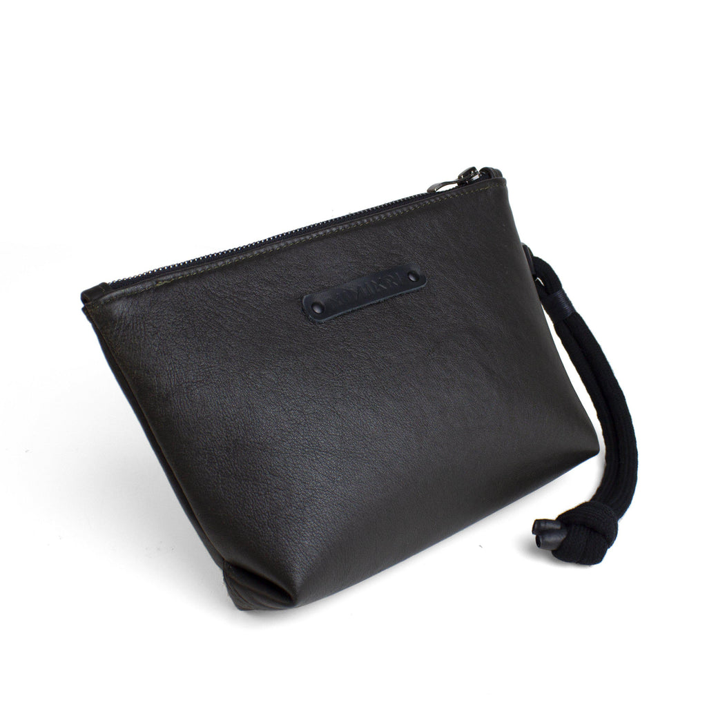 Dark brown leather makeup / clutch bag