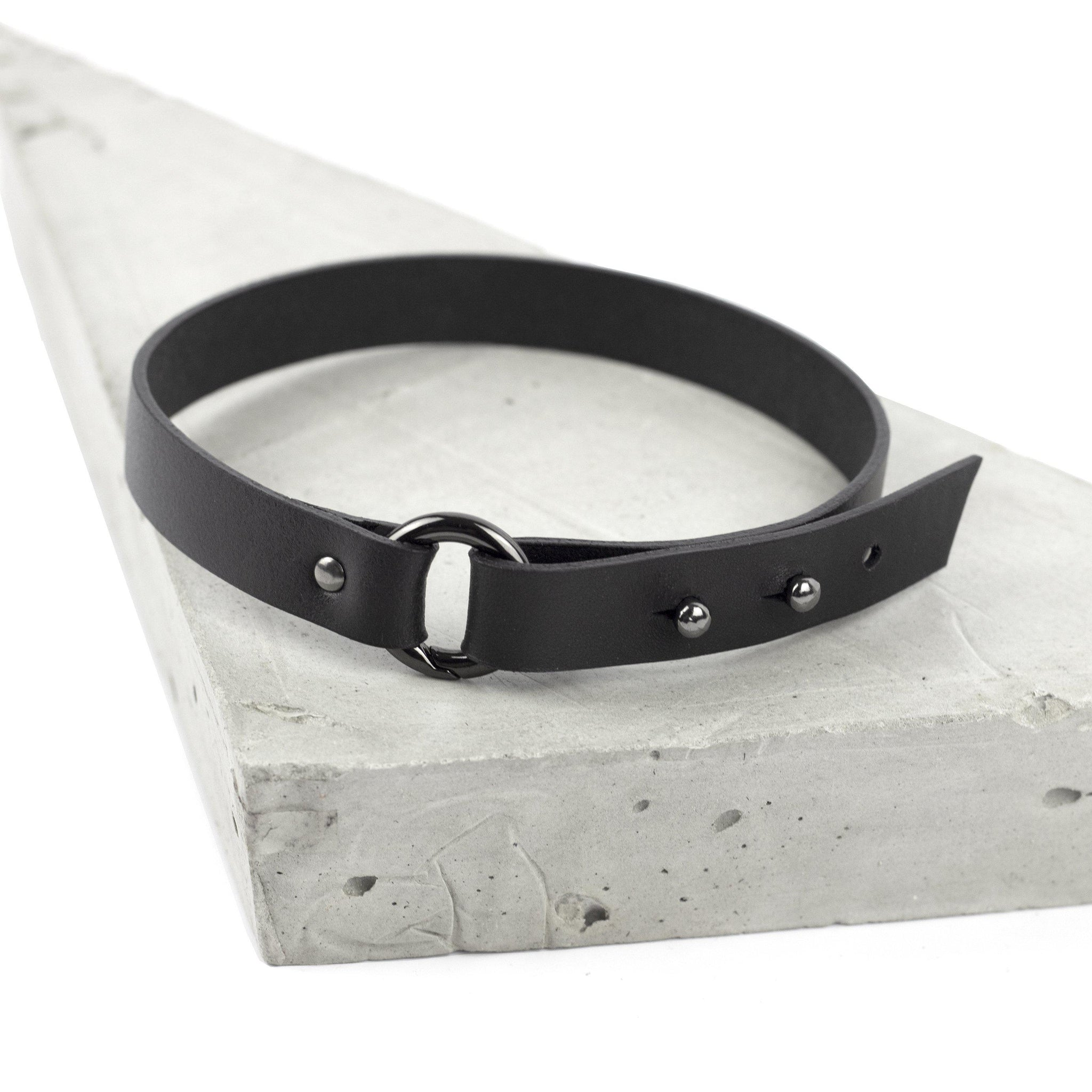 Black leather thin choker adjustable necklace minimal collar