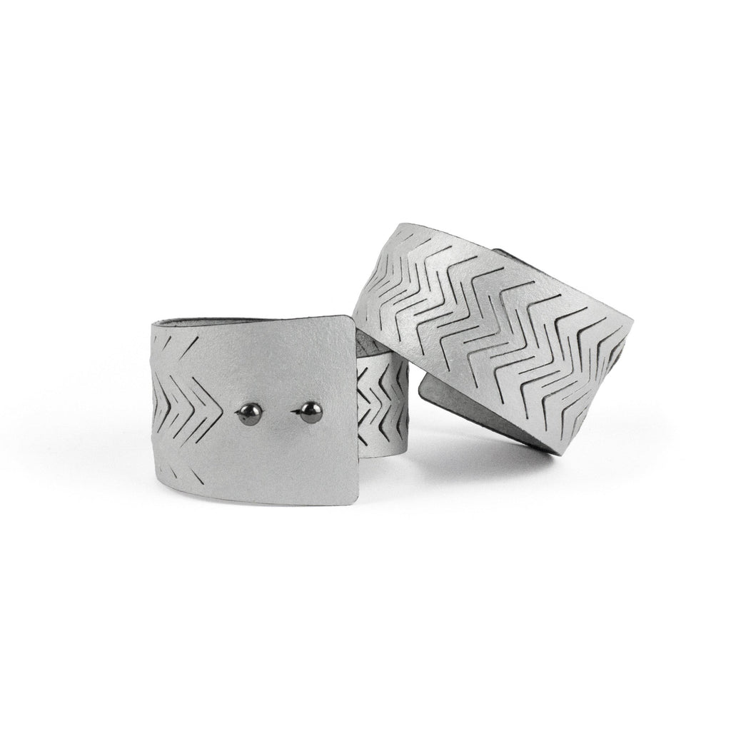 Silver leather bracelet cuff bangles recycled laser cut