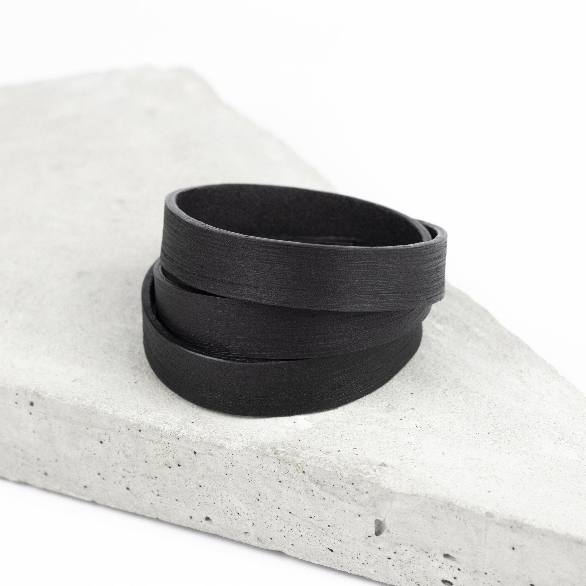 Men's black recycled leather bracelet thin triple wrap multistrand