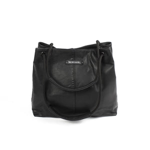 Minimal shoulder bag black recycled leather