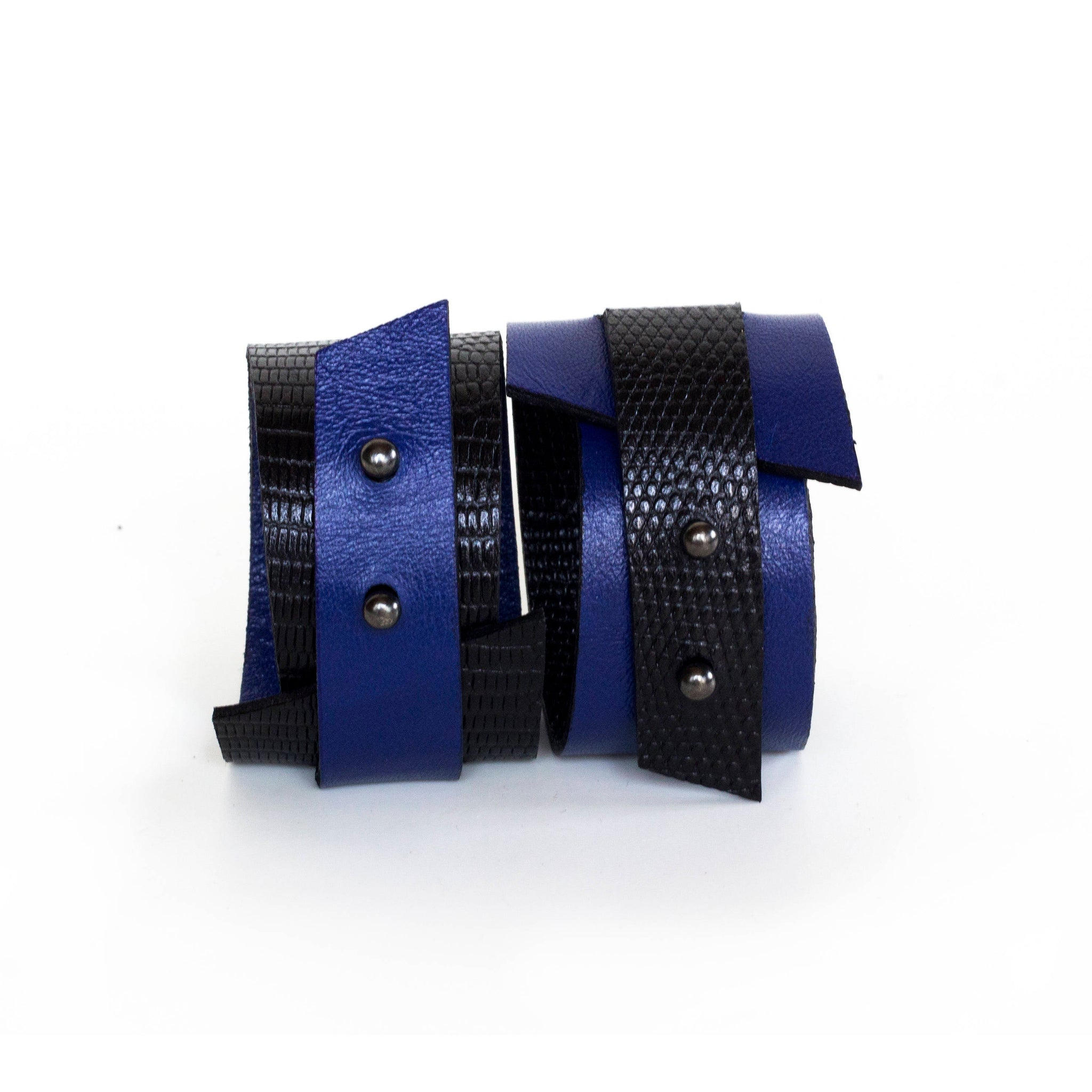 Women's leather bracelet bangles, reversible black and blue
