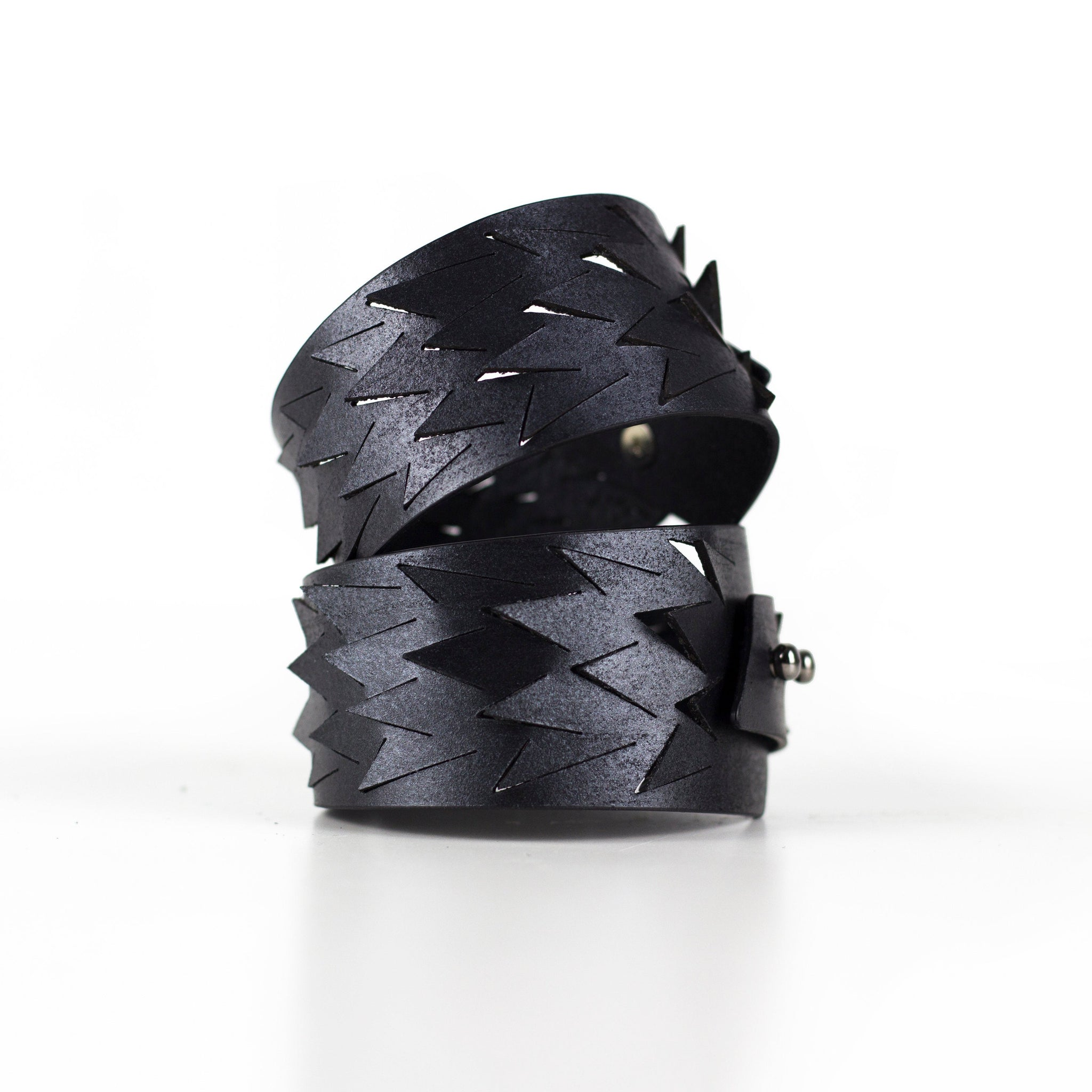 'IRIS' genuine leather cuff bracelet, hollow cut out wide women's bangles