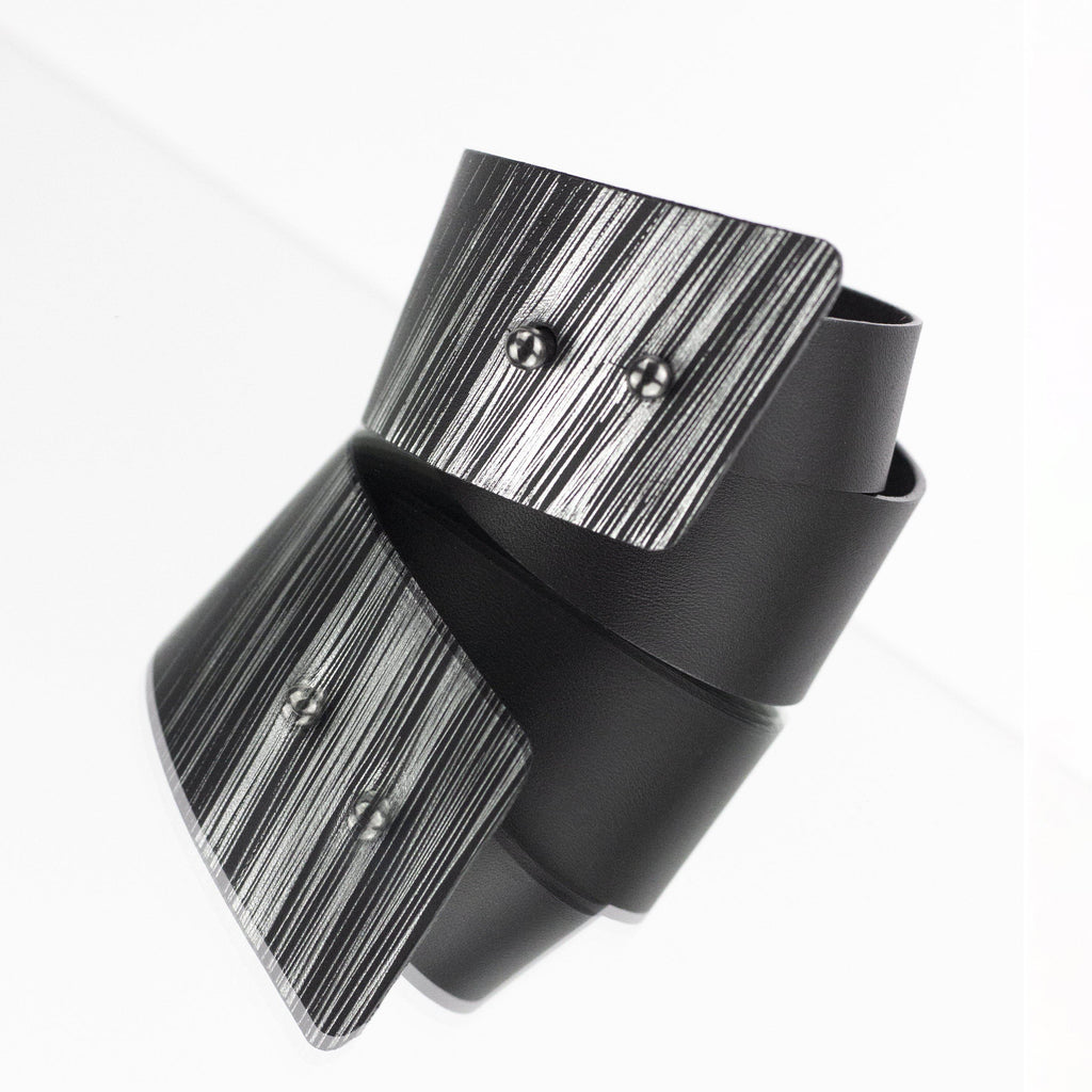 'SENA' genuine leather leather cuff, wide bracelet bangles double wrap