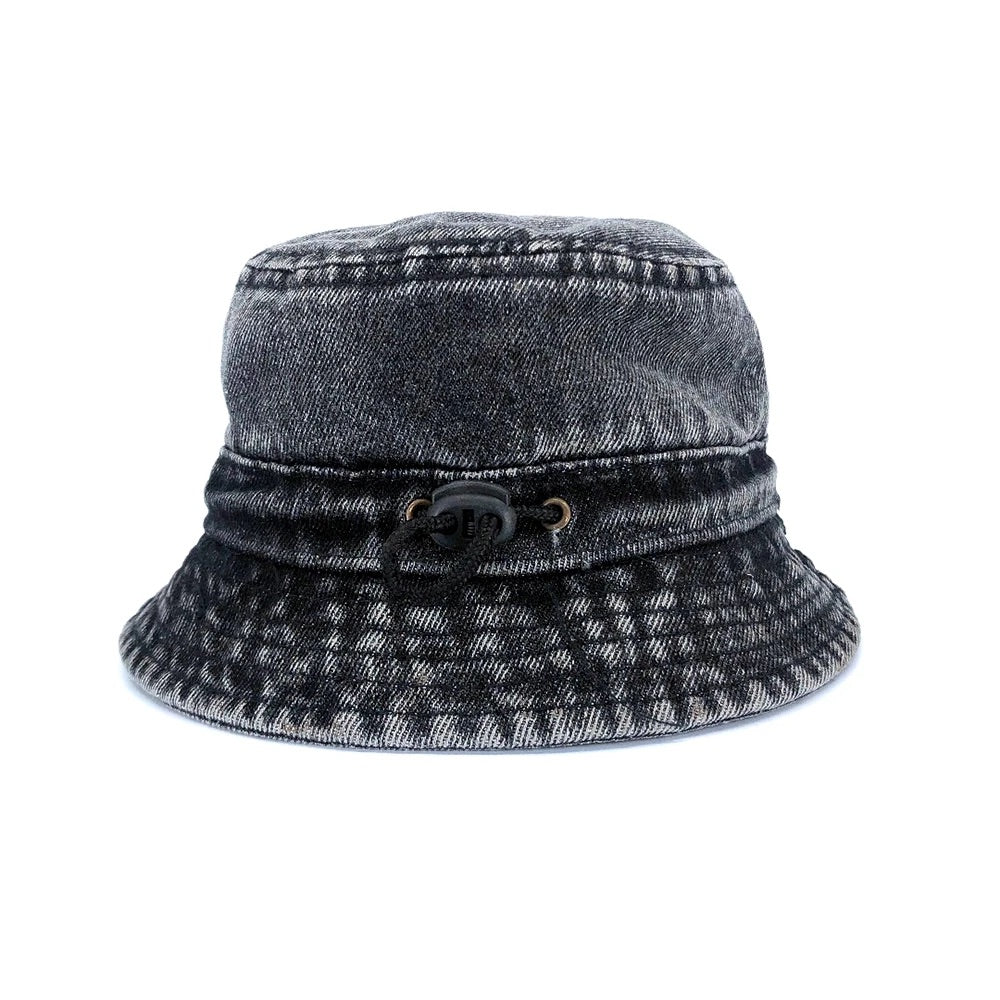 Black Acid Wash Denim Bucket Hat