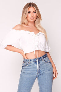 White Eyelet Lace Up Crop Top