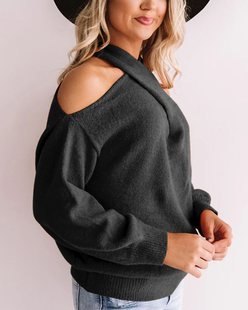 Women v-neck off-shoulder sweater,Two wearing ways