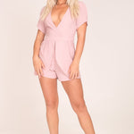 Pink Wrap Front Layered Playsuit