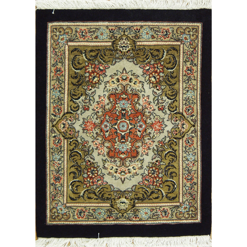 "BIJAR SILK & WOOL TRADITIONAL RUG 2'4""X4'"
