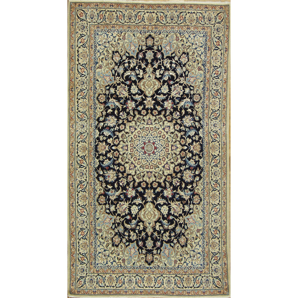 65220 NAIN MEDALLION SILK & WOOL TRADITIONAL RUG 4'3''X7'7''