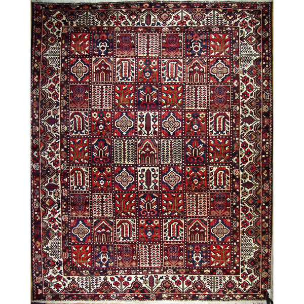 VINTAGE BAKTIARI PANEL WOOL TRADITIONAL RUG 10'3''X12'8''