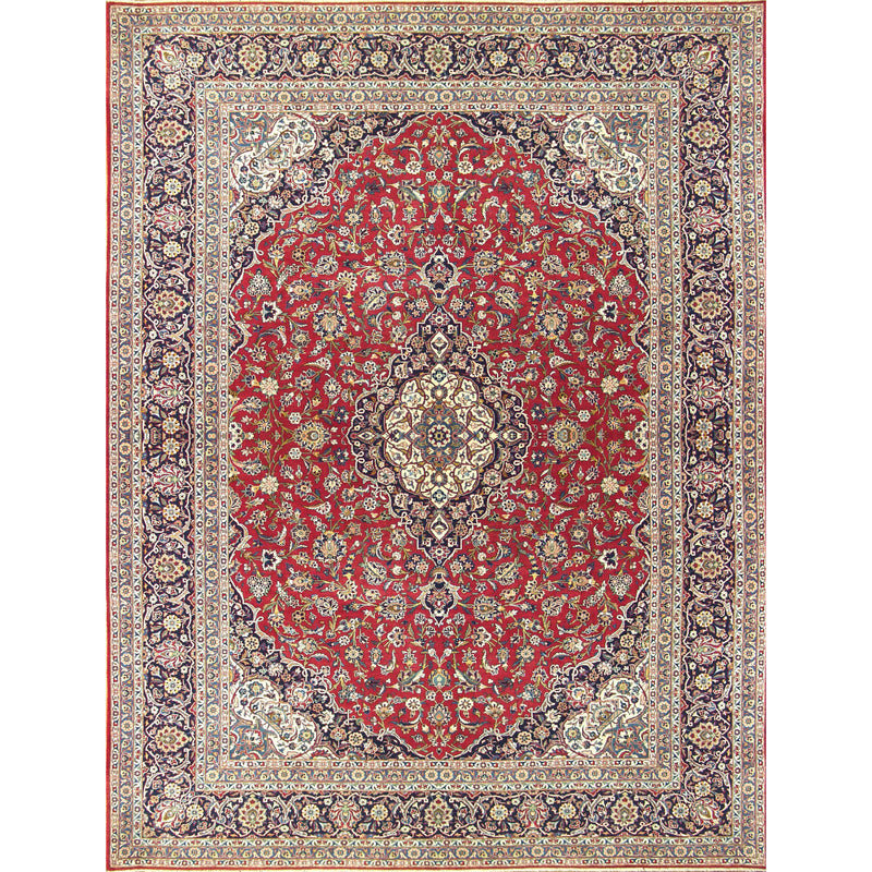 KASKAN MEDALLION WOOL TRADITIONAL RUG 10'6''X14'