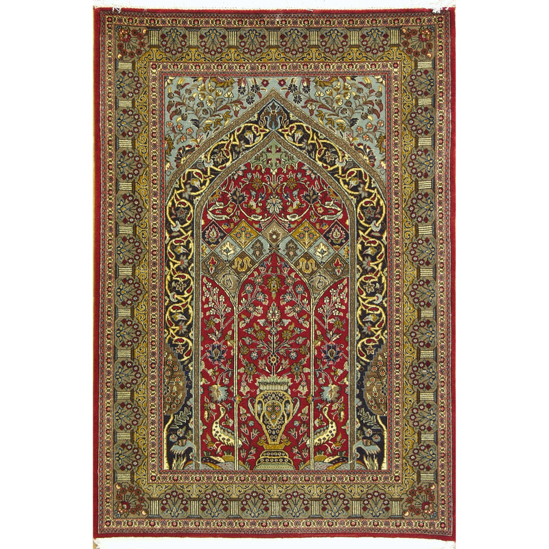 QUOM PRAYER WOOL TRADITIONAL RUG 3'5''X5'