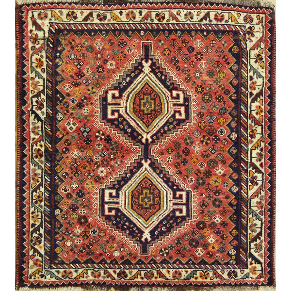VINTAGE GASHGAI WOOL TRADITIONAL RUG 4'1''X4'7''